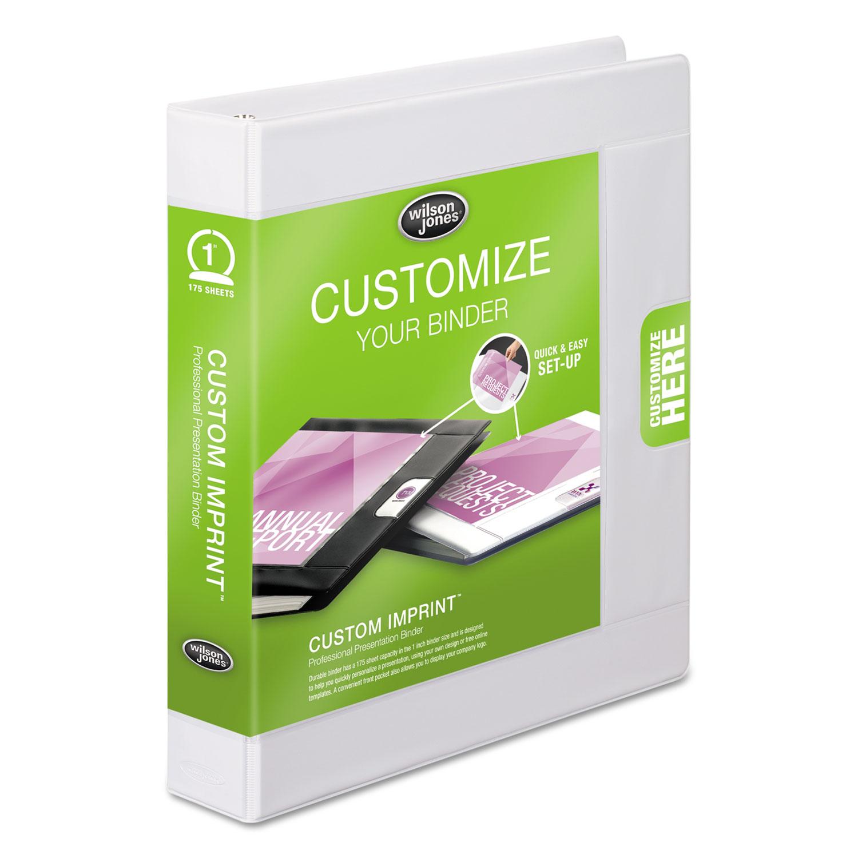 "Custom Imprint Presentation Binder, 1"" Cap, White"