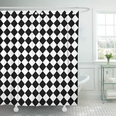 KSADK Diamond Black and White Hypnotic Checkerboard Checkered Floor Abstract Chain Circle Shower Curtain 66x72 inch - Black And White Checkerboard Floor
