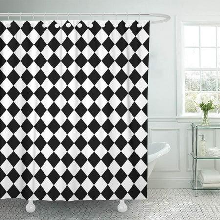 KSADK Diamond Black and White Hypnotic Checkerboard Checkered Floor Abstract Chain Circle Shower Curtain 66x72 inch - Black And White Checkerboard Floor