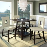 "CorLiving Bistro 5pc 36"" Counter Height Rich Cappuccino Dining Set, White Leatherette"