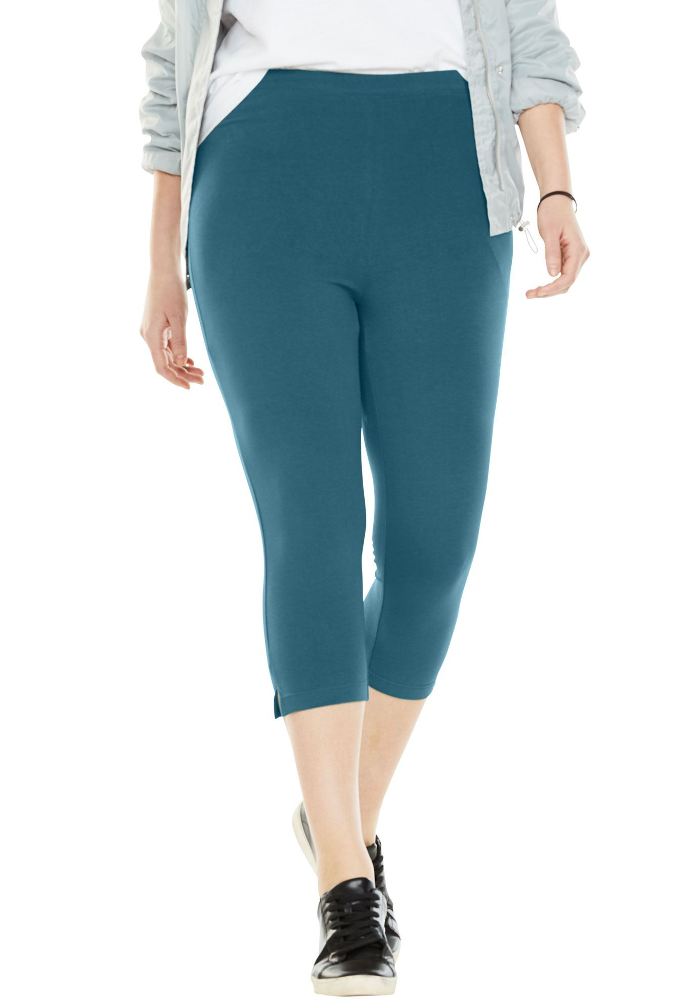 Plus Size Stretch Cotton Capri Legging