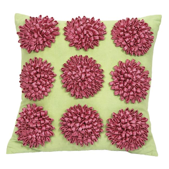 Jubilee Collection P411 Pillow - 9 Dahlias - Grren Body - PinkFlowers