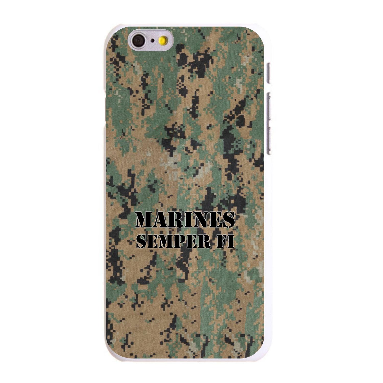 "CUSTOM White Hard Plastic Snap-On Case for Apple iPhone 6 / 6S (4.7"" Screen) - Camo Marines Semper Fi"