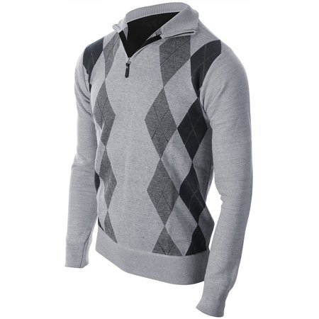 Mens Argyle Zip Up Golf Long Sleeve Zipper Sweater (Many Colors Available) Classic Grey Size S (Boys Argyle Sweater Vest)