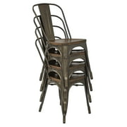 Indio Metal Chair with Vintage Ash Walnut Wood Seat and Matte Gunmetal Finish Frame 2-Pack