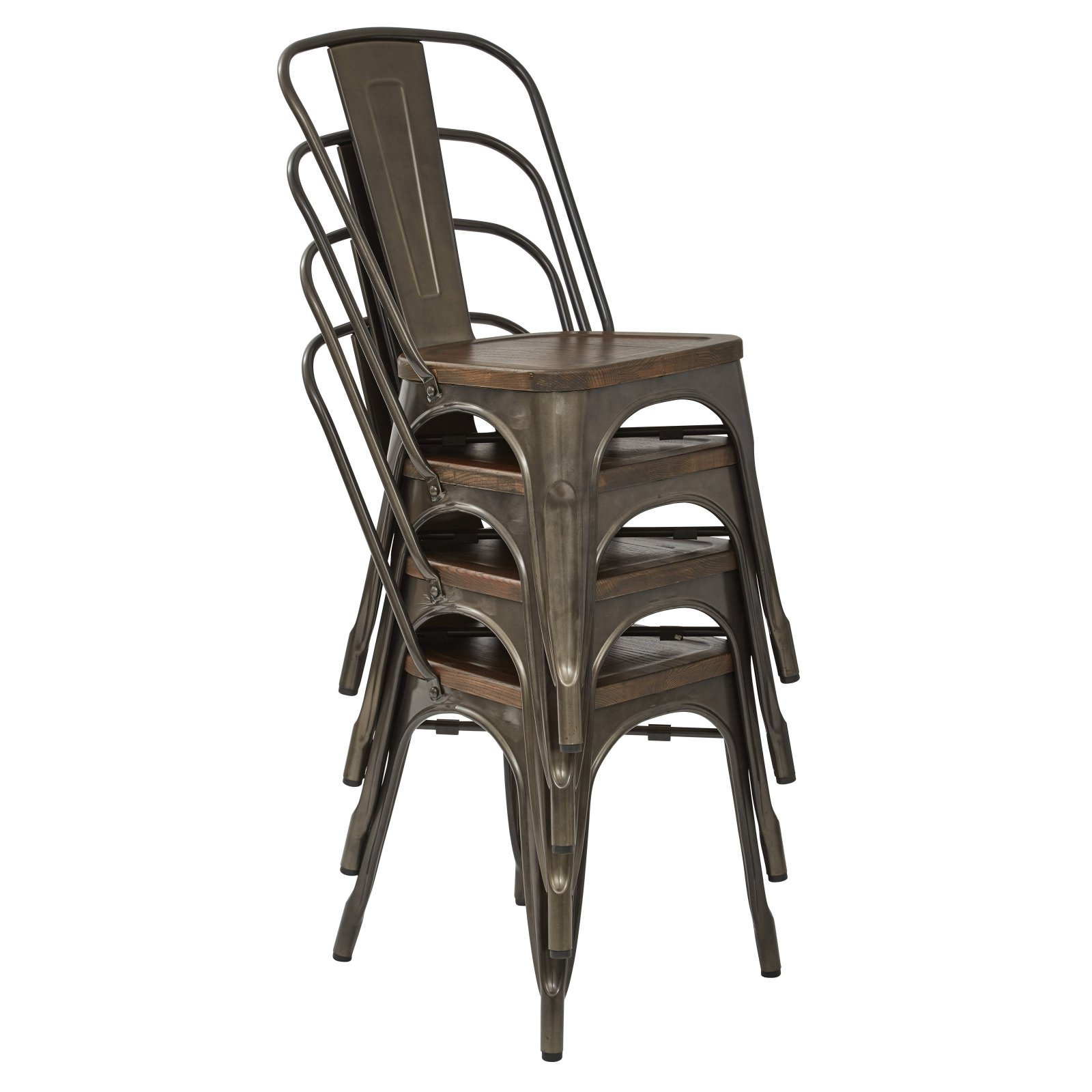 Etonnant Indio Metal Chair With Vintage Ash Walnut Wood Seat And Matte Gunmetal  Finish Frame 2