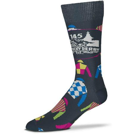 Kentucky Derby 145 For Bare Feet All-Over Jockey Silks Crew Socks - Charcoal - OSFA - Cheap Jockey Silks