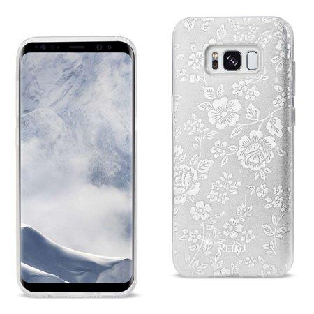 10 Pack - Reiko Samsung Galaxy S8 Edge/ S8 Plus Shine Glitter Shimmer Plum Blossom Hybrid Case In Silver