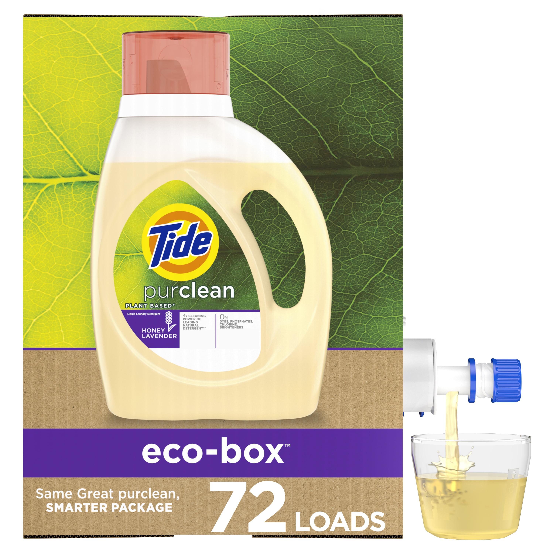 Tide Purclean Eco-box HE, 72 Loads Plant-based Liquid Laundry Detergent, 105 Fl Oz