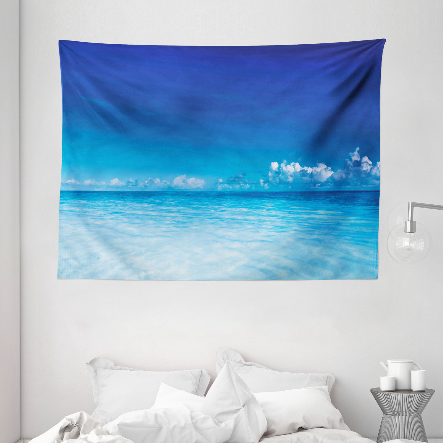 Landscape Tapestry Ocean Scenery Deep Sea Beach Hot Summer Themed Photo Wall Hanging For Bedroom Living Room Dorm Decor 80w X 60l Inches Turquoise Light Blue And Dark By Ambesonne
