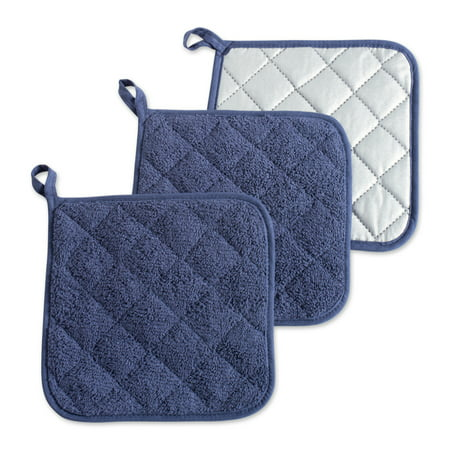 DII French Blue Terry Potholder (Set of 3), 7x7