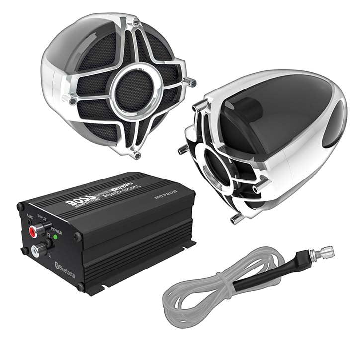 BOSS Audio MC750B Bluetooth, Amplifier Sound System, Two 4 Inch Speaker, Black