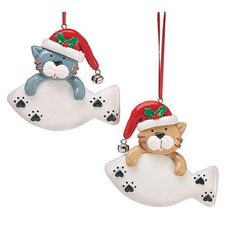 Burton & Burton Kitty Cat And Fish Ornaments - Set Of 2 Kitty Cat Ornament