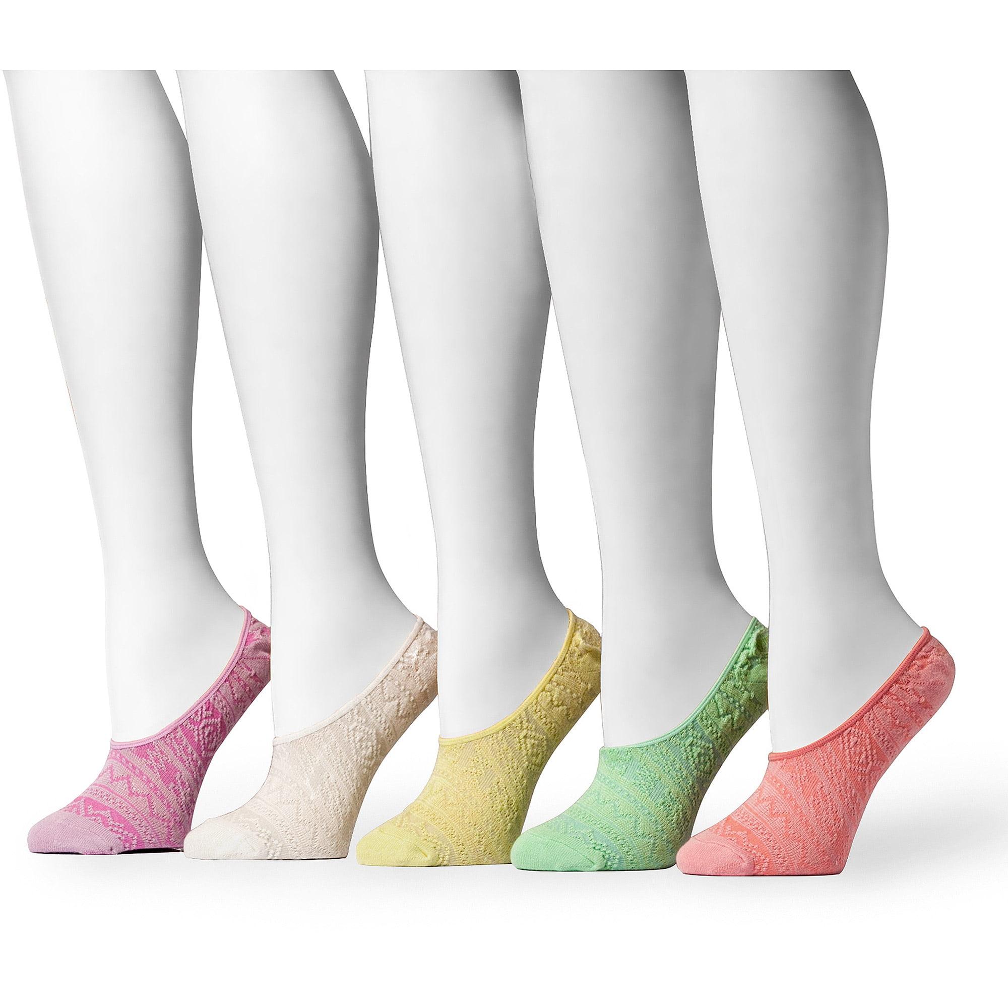 MUK LUKS Women's Microfiber Foot Liners 5-Pair Sock Pack