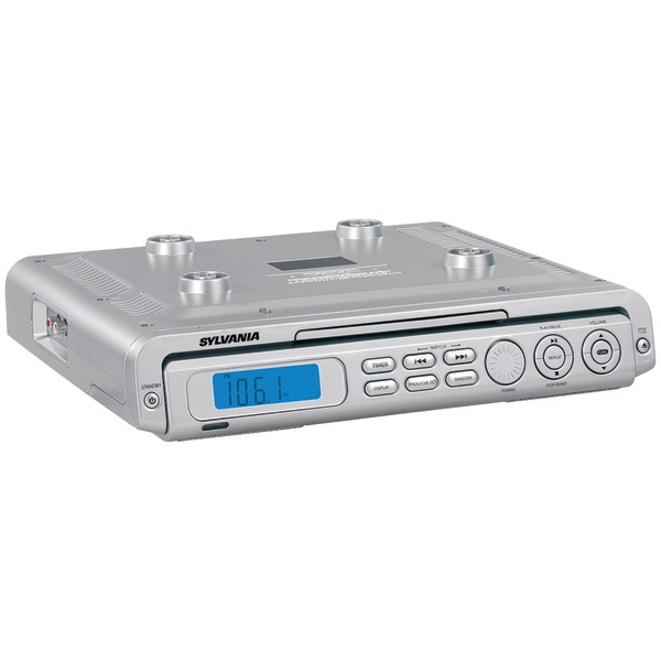 kitchen cd radio under cabinet sylvania skcr2613 silver cabinet cd clock radio 21500