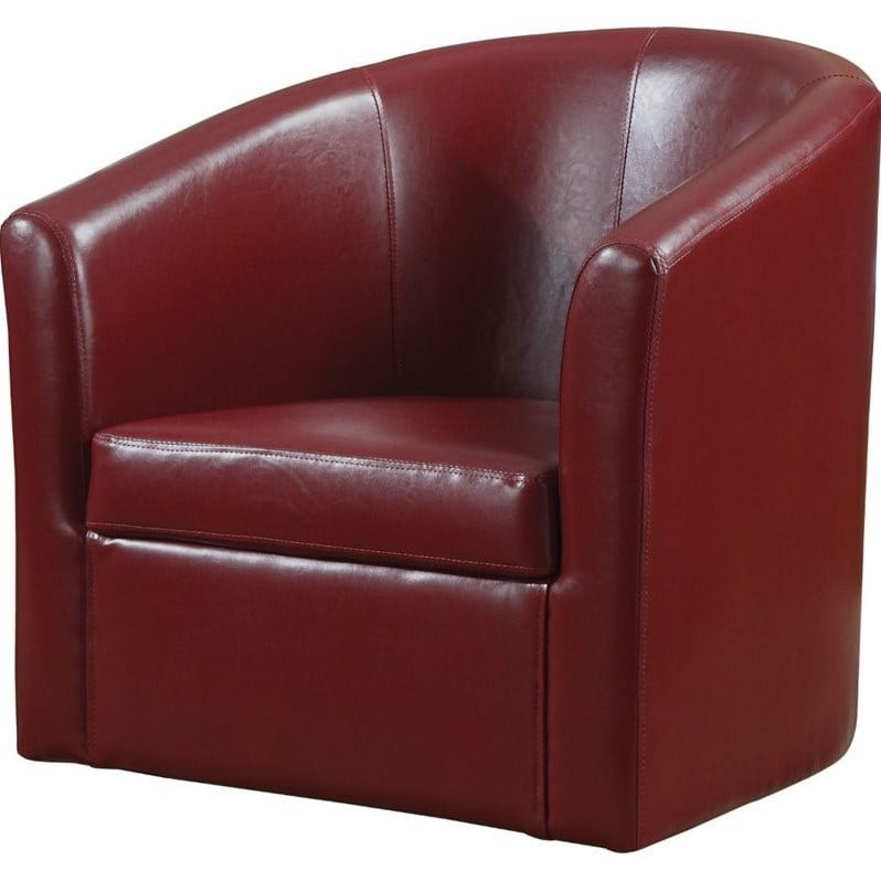 Bowery Hill Faux Leather Swivel Barrel Back Accent Chair