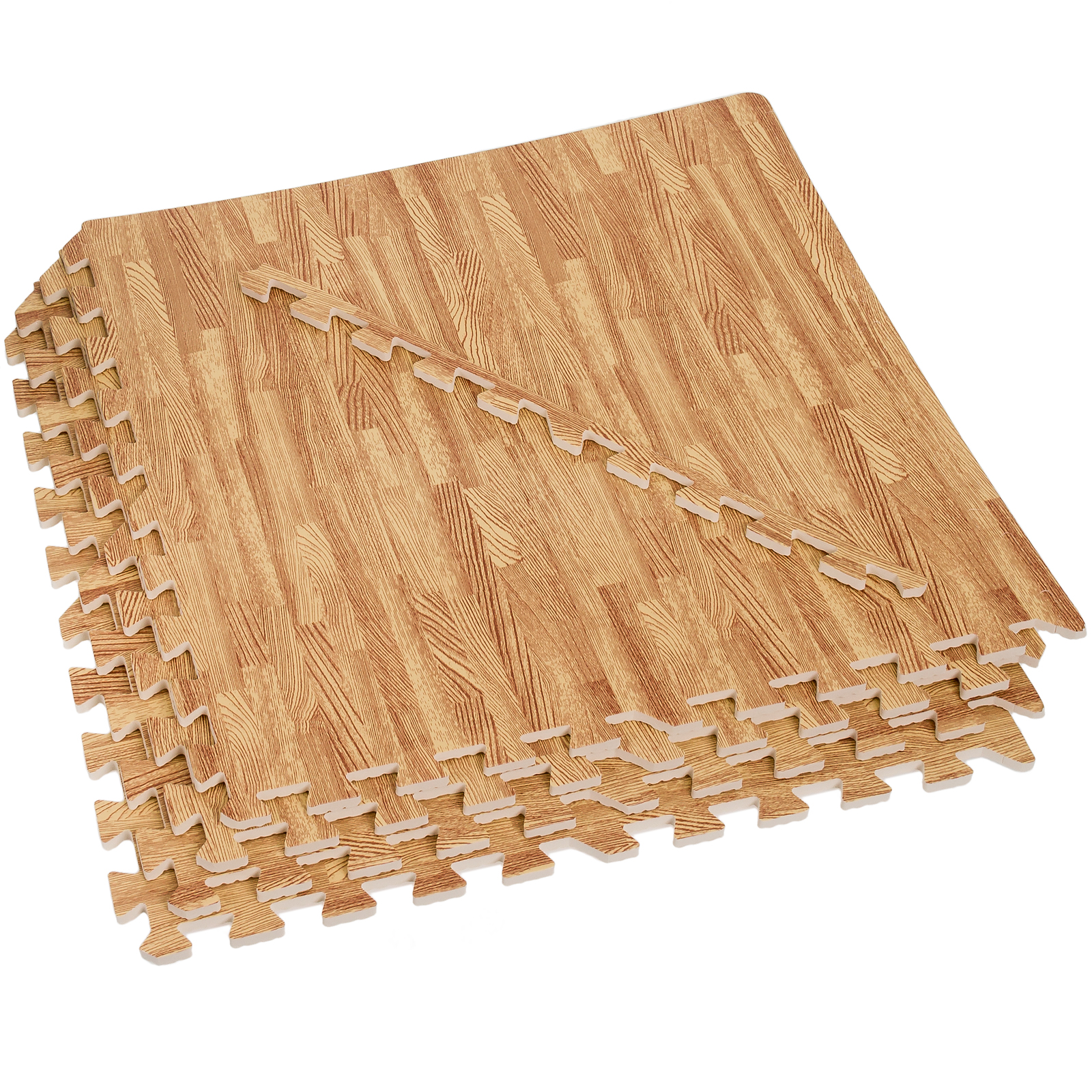 NEW EVA Foam Exercise Mats - 96 Square Foot Light Wood Grain Interlocking Mats