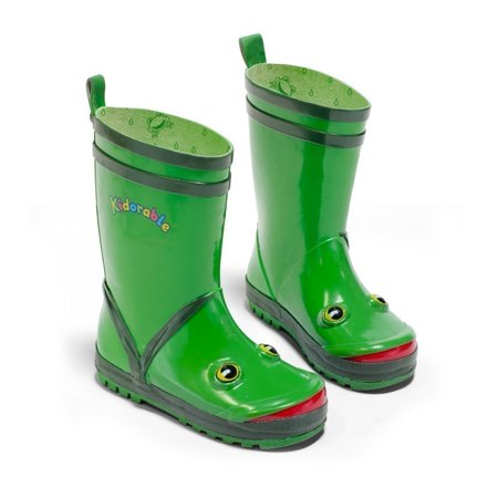 Kidorable Boys Green Frog Eyes Design Rubber Lined Rain Boots 11-2 Kids