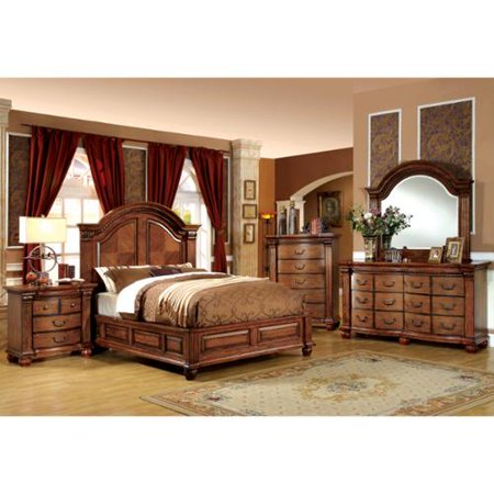 Best-selling Furniture Of America Traditional Style 4 Antique Tobacco Oak Bedroom Set  Recommended Item