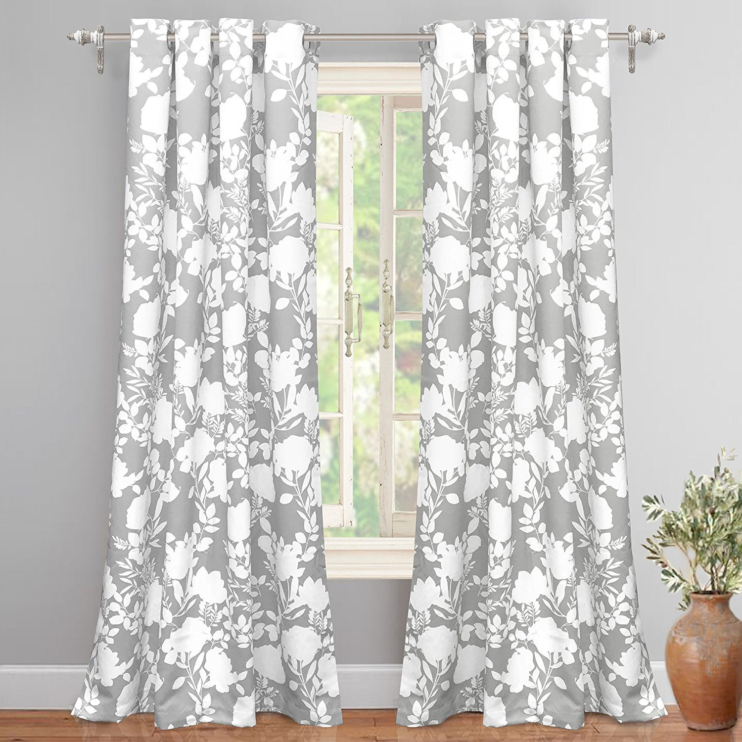 "DriftAway Floral Delight Room Darkening Grommet Unlined Window Curtains, Set of Two Panels, each 52""x84"" (Gray)"