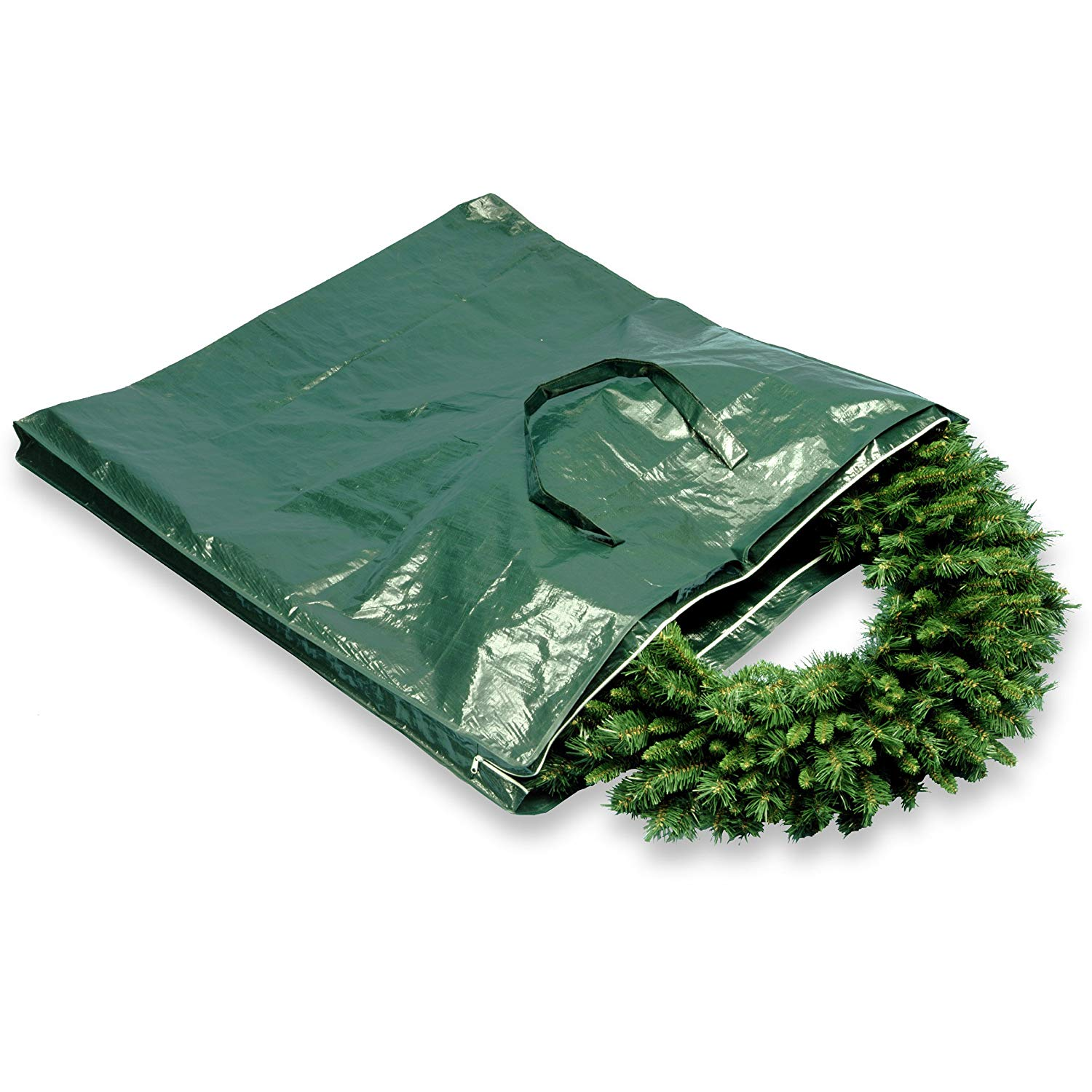 "13"" Green Heavy Duty Wreath and Garland Storage Bag with Handles and Zipper"