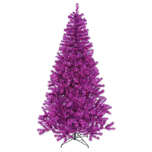 Vickerman 7' Purple Artificial Christmas Tree with 500 Purple Mini Lights with Stand