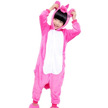 SpooktacularChildren Unicorn Cosplay Costume Onesie Pajamas Pegasus Rose S - Unicorn Rider Costume