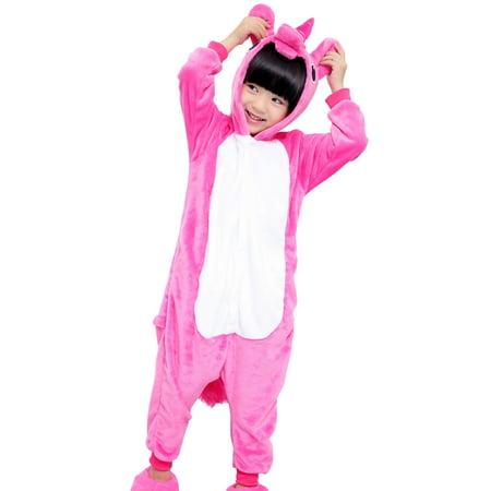 SpooktacularChildren Unicorn Cosplay Costume Onesie Pajamas Pegasus Rose S - Unicorn Costume Onesie
