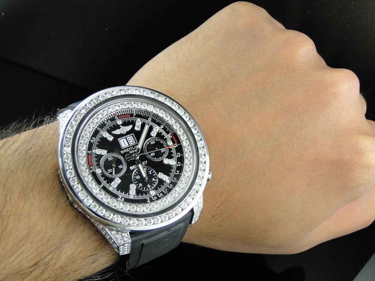 Breitling Bentley Watch >> Breitling Custom Breitling Bentley 6 75 Diamond Watch 11 Ct