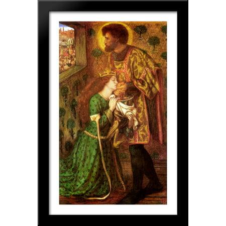 Saint George And The Princess Sabra 24X40 Large Black Wood Framed Print Art By Dante Gabriel Rossetti
