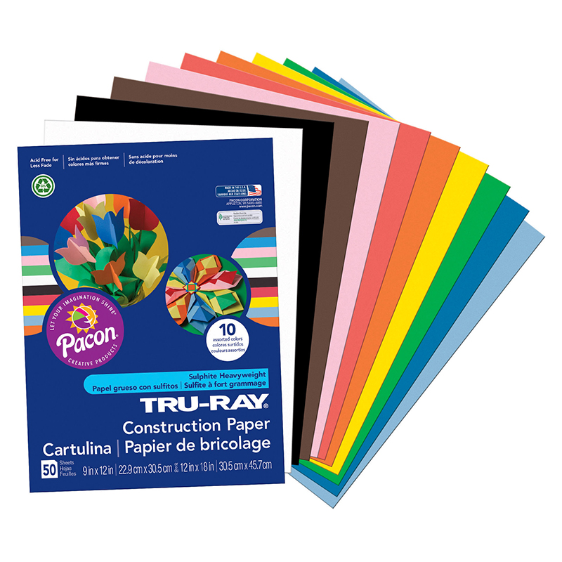 TRU RAY 9 X 12 ASSORTED 50 SHT CONSTRUCTION PAPER