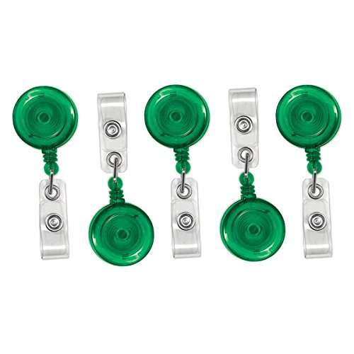 25 Pack - Translucent Retractable ID Badge Reels with Alligator Swivel Pinch Clip by Specialist ID (Green)