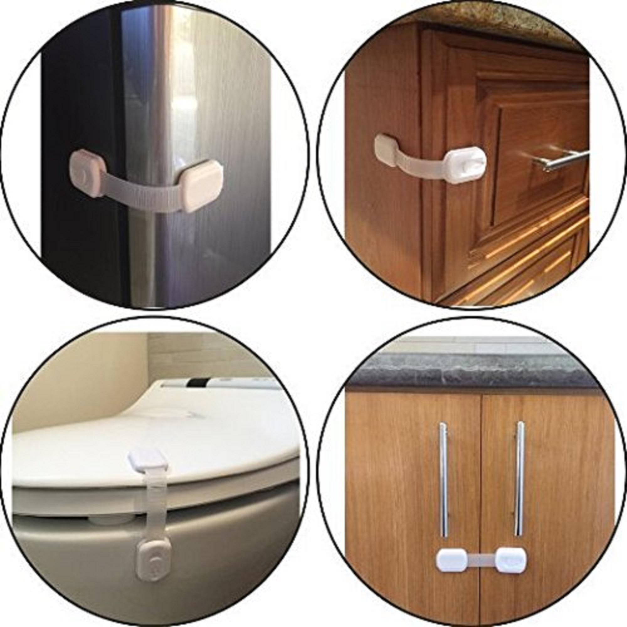 PREMIUM Adjustable Child Safety Locks - Latches to Baby Proof Cabinets, Drawers, Fridge, Oven, Dishwasher, Toilet Seat - with 3M Adhesive - No Tools or Drilling - 6x Pack white