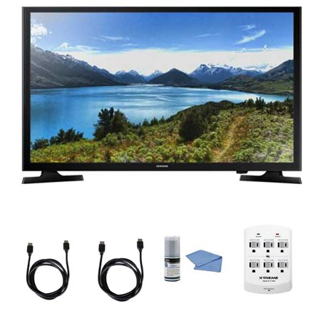 Samsung UN32J4000 – 32-Inch LED HDTV J4000 Series + Hookup Kit – Includes TV, 6 Outlet Wall Tap Surge Protector with Dual 2.1A USB Ports, HDMI Cable 6′ and Performance TV/LCD Screen Cleaning Kit