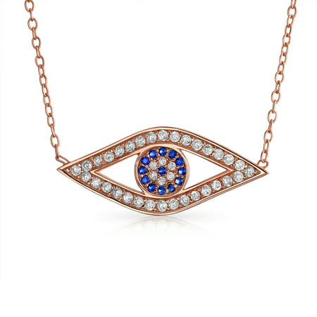 Turkish Protection Blue Pave CZ Evil Eye Station Pendant Necklace For Women For Teen 925 Sterling Silver - image 4 de 4