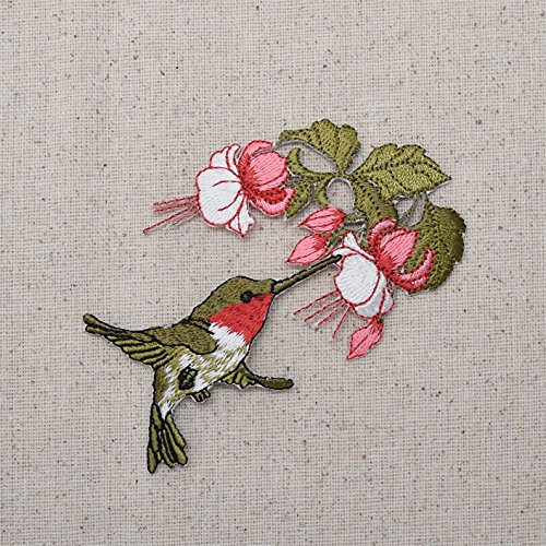 Hummingbird - Ruby Red Throat - Pink Flowers - Flying Right - Iron on Embroidered Applique Patch