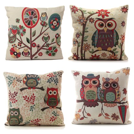 Meigar Owl Decorative Throw Pillow Case Cushion Cover Clearance 18''x18'' Square Zipper Waist Pillowcase Pillow Protector Slip Cases Sham for Home Bedroom Couch Sofa Bed (Own Square)