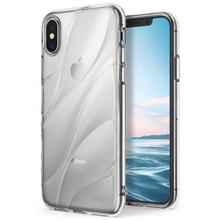 Apple iPhone 8 / iPhone 7 Phone Case Ringke [Flow] Minimalist Wavy Textured Shock Absorption TPU Form Fitting Lightweight Drop Resistant Protection Transparent Design Cover -
