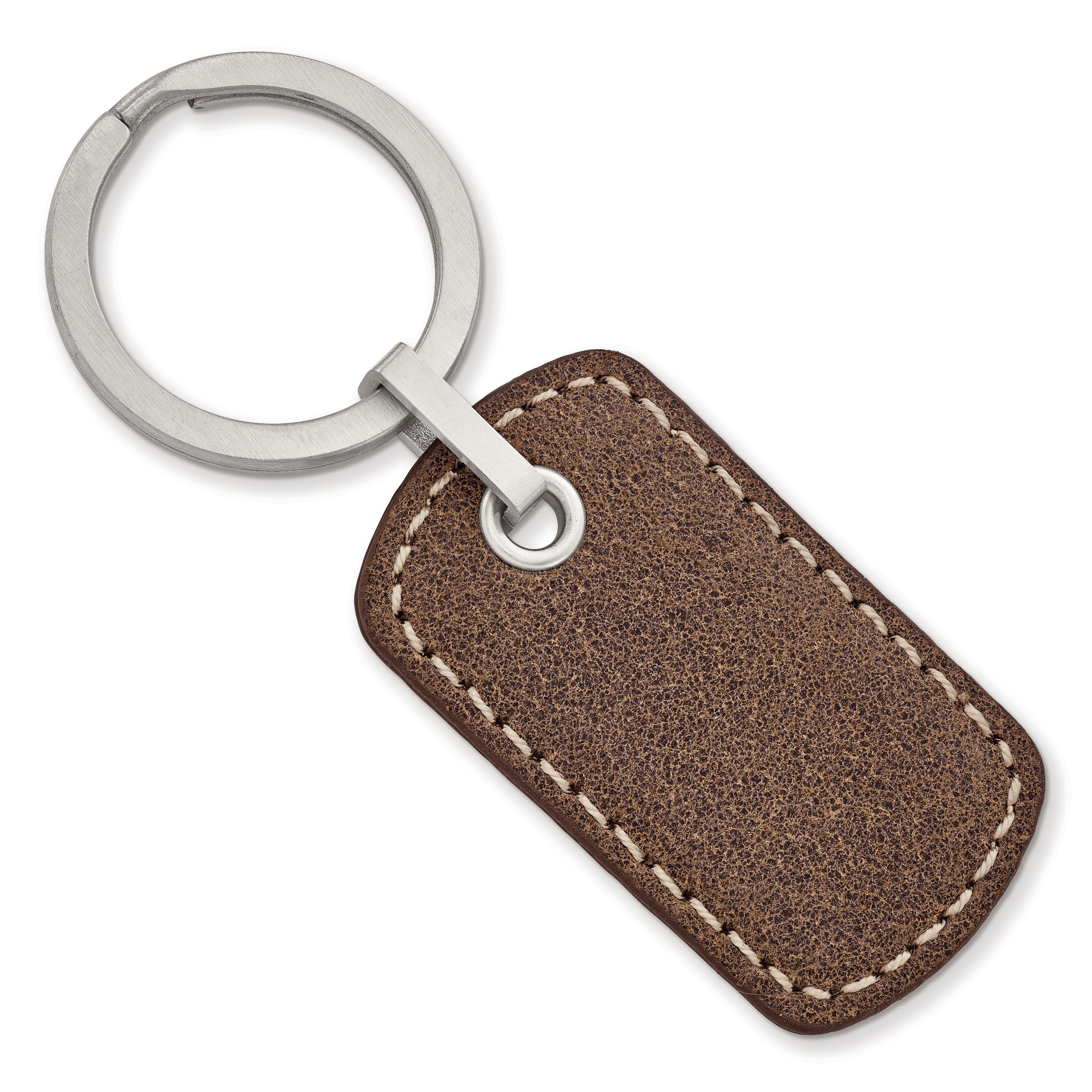 Stainless Steel Brushed Tan Stitched Leather Key Ring by CoutureJewelers