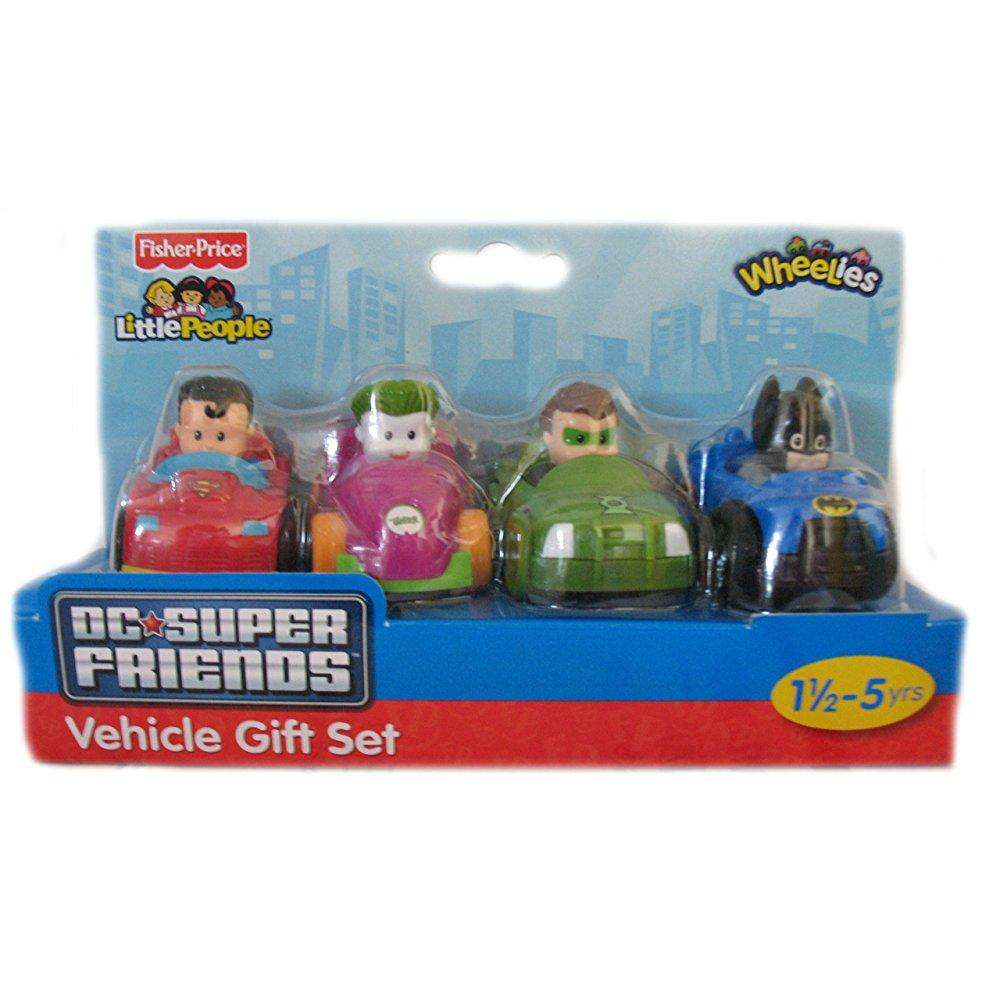 Fisher Price Little People DC Super Friends Wheelies 4 Ve...