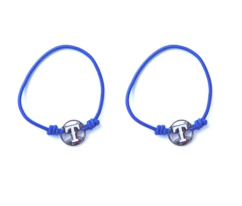 MLB Texas Rangers Sports Team Logo Stretch Bracelet Hair Tie Set 1ccd30fb079
