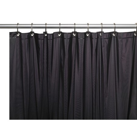 3 Gauge Vinyl Shower Curtain Liner W Weighted Magnets And Metal Grommets In Black