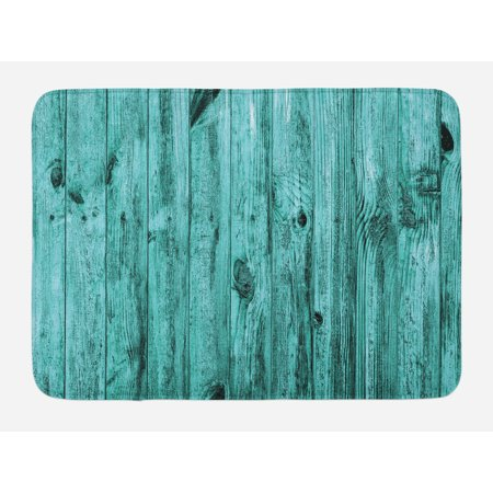 Timber Bath (Turquoise Bath Mat, Wall of Turquoise Wooden Texture Background and Antique Timber Furniture Artful Print, Non-Slip Plush Mat Bathroom Kitchen Laundry Room Decor, 29.5 X 17.5 Inches, Blue, Ambesonne )