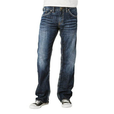 Silver Jeans Denim Mens Zac Relaxed Straight Faded Dark M4408SDA495 ()