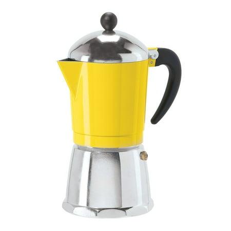 Oggi 6 Cup Cast Aluminum Stovetop Espresso Coffee Maker Yellow