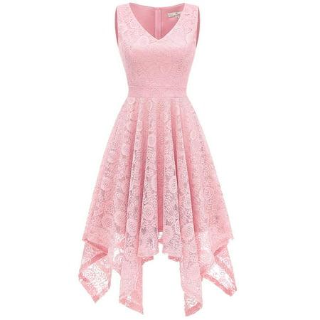 - Market In The Box Women's Floral Lace V Neck Asymmetrical Hem Cocktail Formal Swing Dress