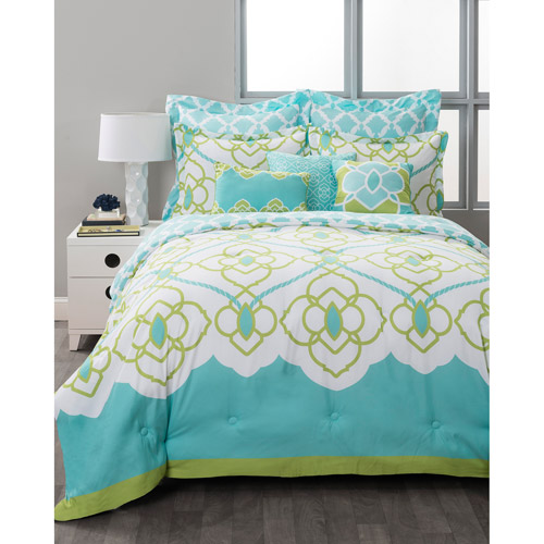 Style Nest Sahara Aqua Bed In A Bag 8 Piece Bedding Set