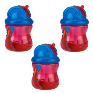 Nuby 2 Handle Flip n' Sip Straw Cup, 8 Ounce 3 Pack, Red Red Red by Nuby
