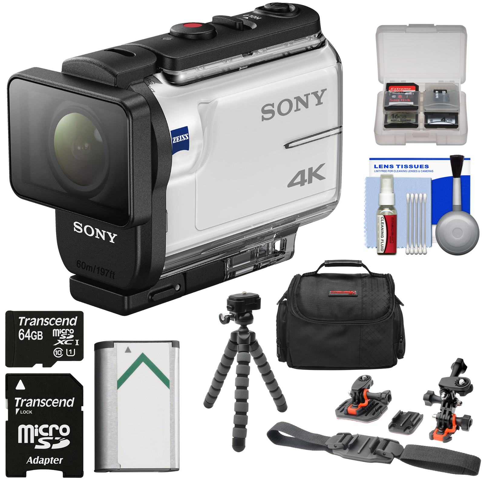 Sony Action Cam FDR-X3000 Wi-Fi GPS 4K HD Video Camera Camcorder with Flat Surface & Helmet Mounts + 64GB Card + Battery + Case + Flex Tripod + Kit