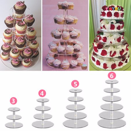3/4/5/6 Tier Clear Acrylic Cake Stand Round Crystal Cupcake Tower Stand Wedding Birthday Party - Walmart Cupcake Stand